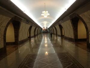 Inside Almaly metro station in Almaty