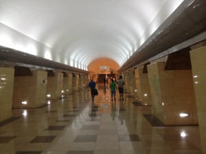 Inside Abai Metro Station in Almaty