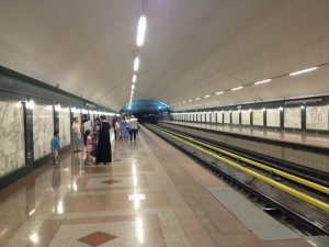 Inside Alatau metro station in Almaty